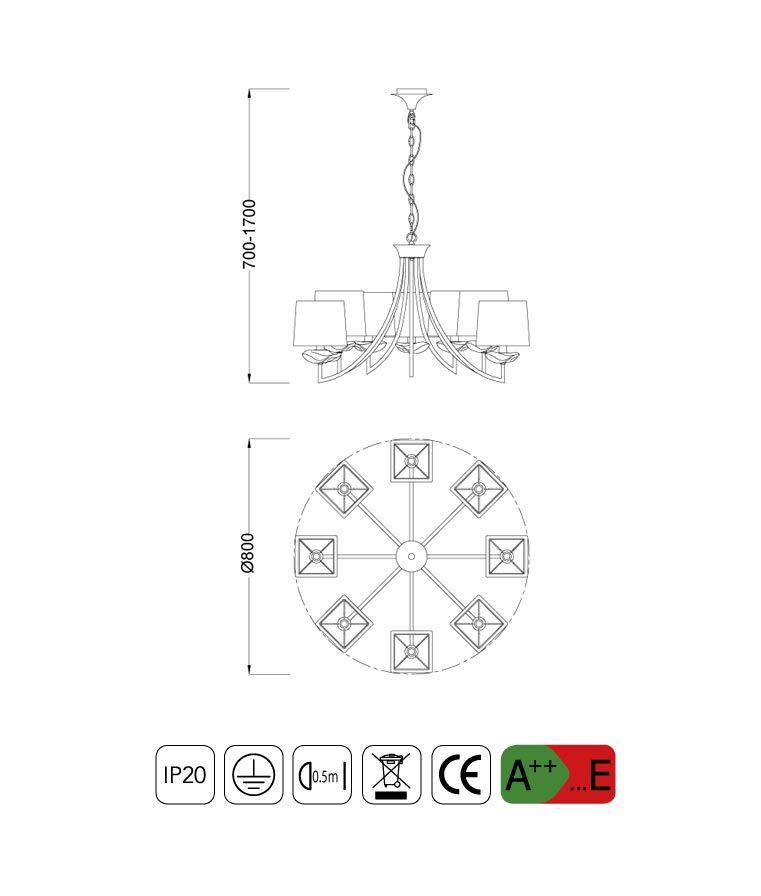 Medidas lámpara techo sofisticada 8 luces AKIRA