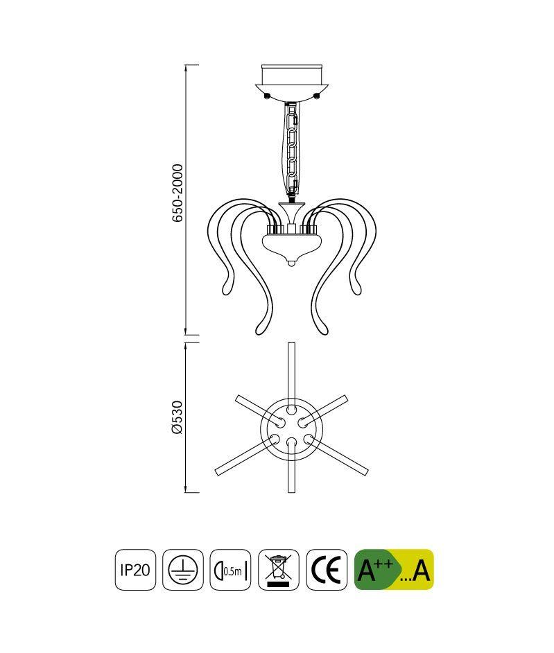 Medidas lámpara LED de diseño 50 cm VERSAILLES