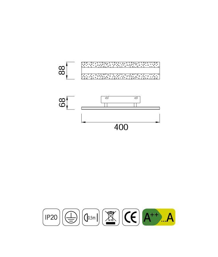 Medidas luminaria aplique o plafón BURBUJA LED