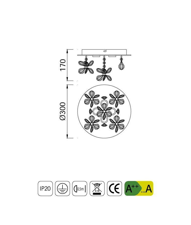 Medidas luminaria circular cristal KAWAI LED