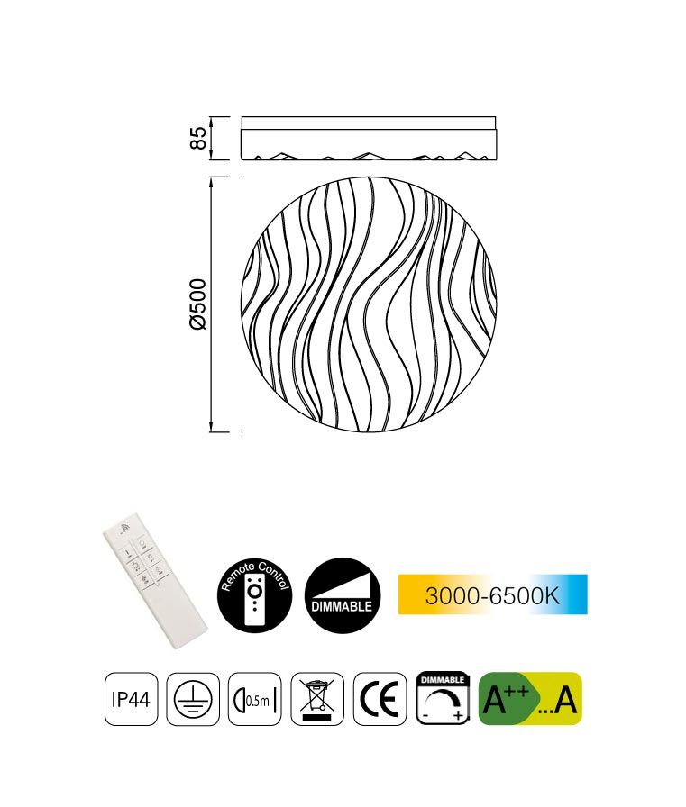 Medidas luminaria exterior dimable ARENA LED