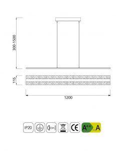 Medidas luminaria interior lineal BURBUJA LED