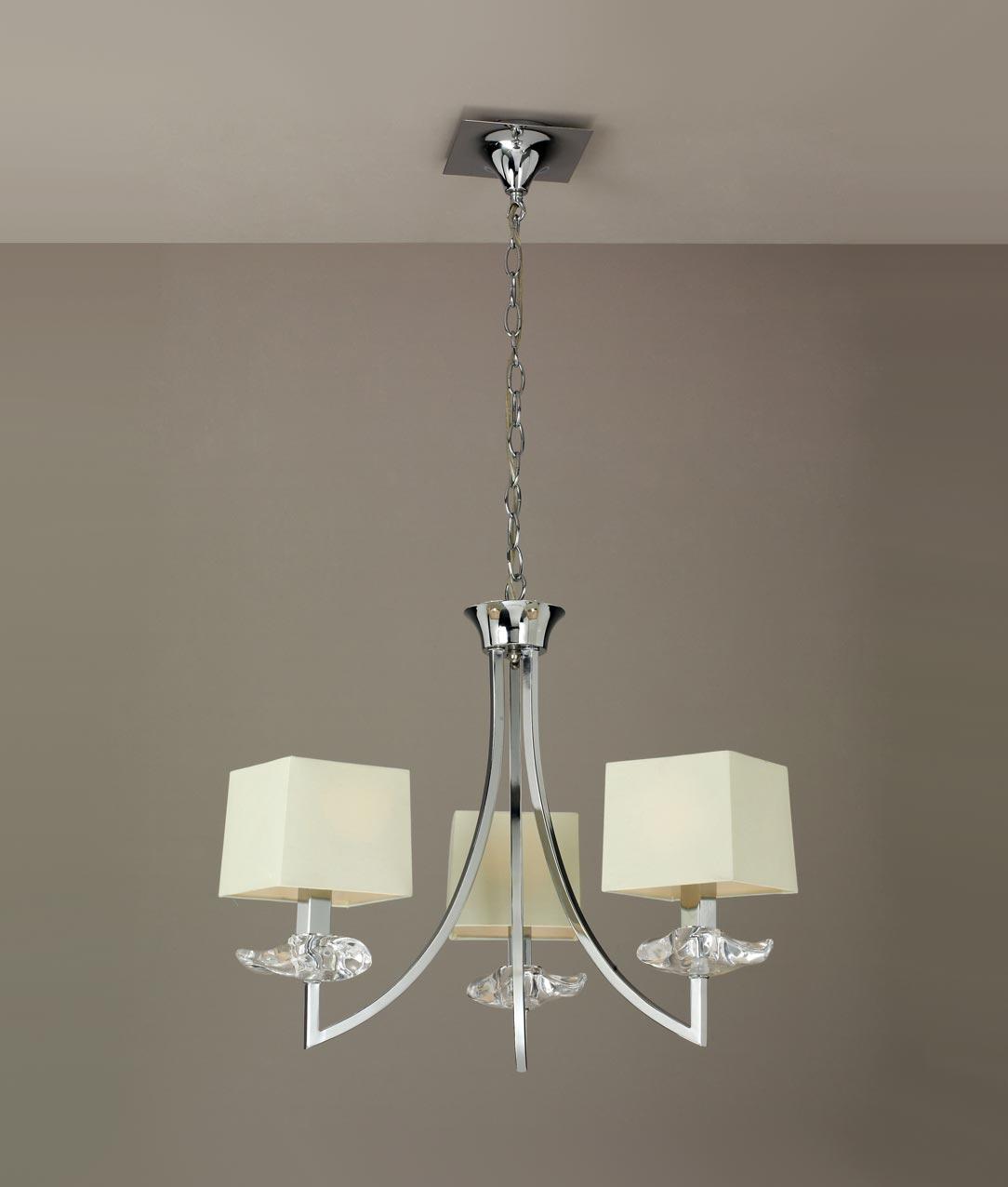 Luminaria techo crema cromo 3 luces AKIRA detalle