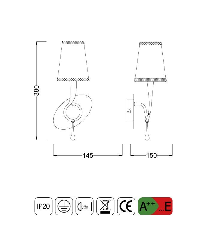 Medidas lámpara aplique elegante PAOLA