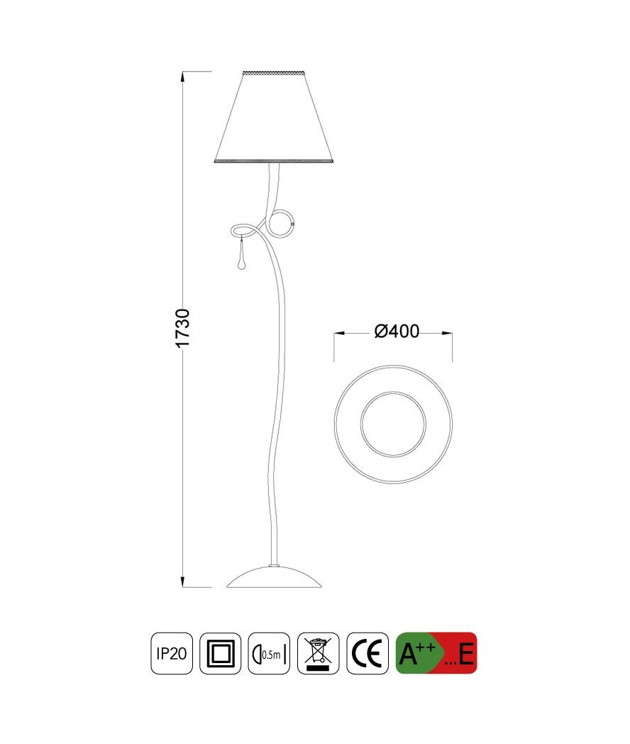 Medidas lámpara de pie elegante PAOLA