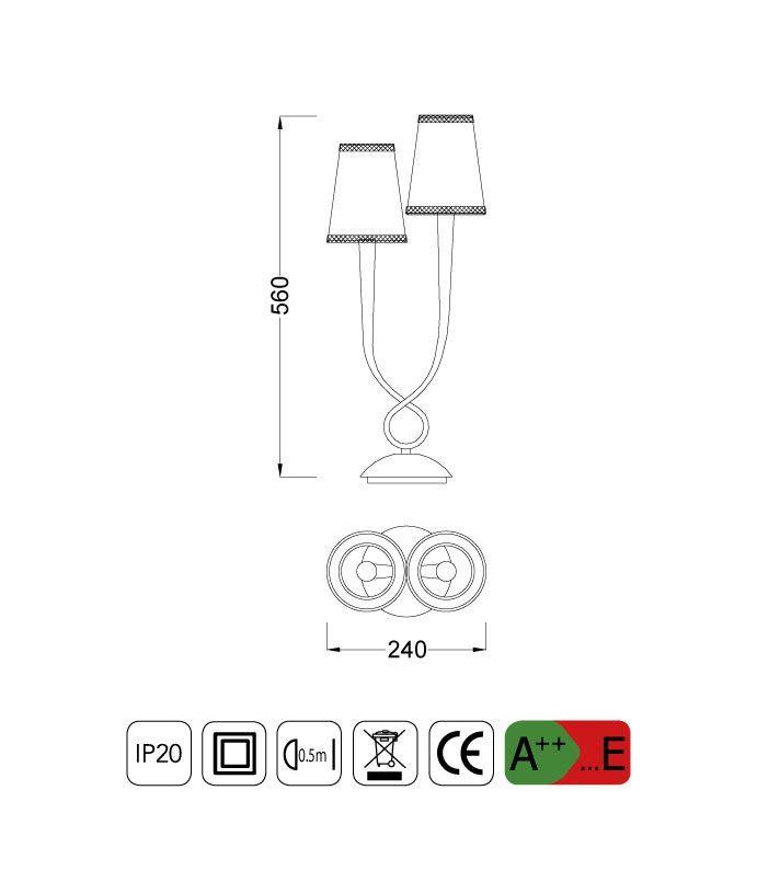 Medidas lámpara sobremesa elegante 2 luces PAOLA