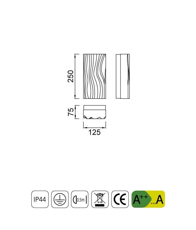 Medidas lámpara aplique de exterior ARENA