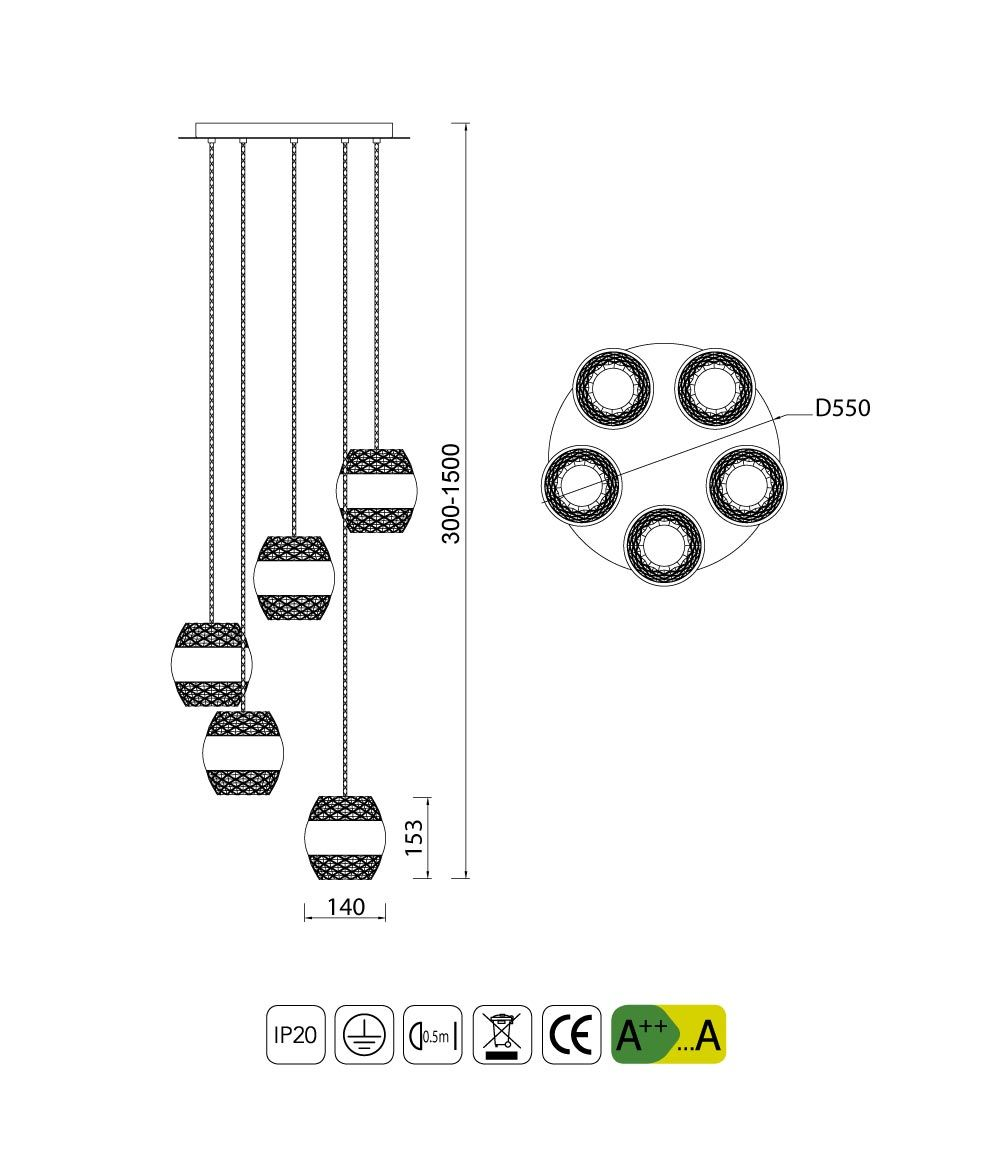 Medidas colgante círculo cromo KHALIFA 5 luces