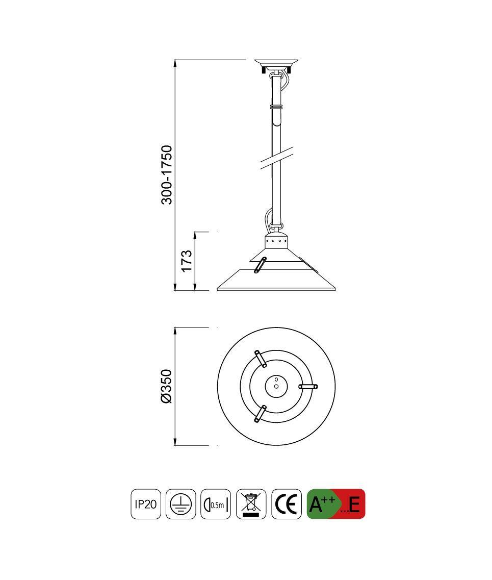 Medidas lámpara colgante mediana INDUSTRIAL