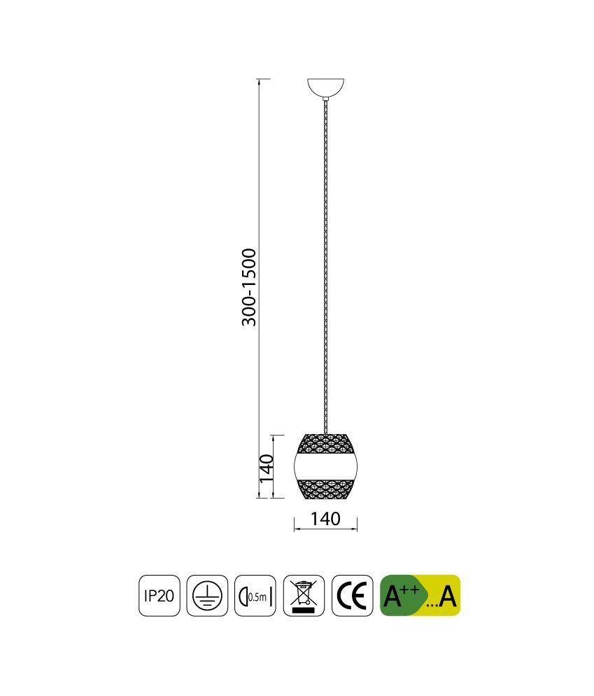 Medidas colgante cromo KHALIFA 1 luz