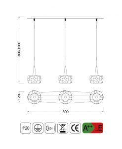 Medidas lámpara lineal O2 G9 3 luces