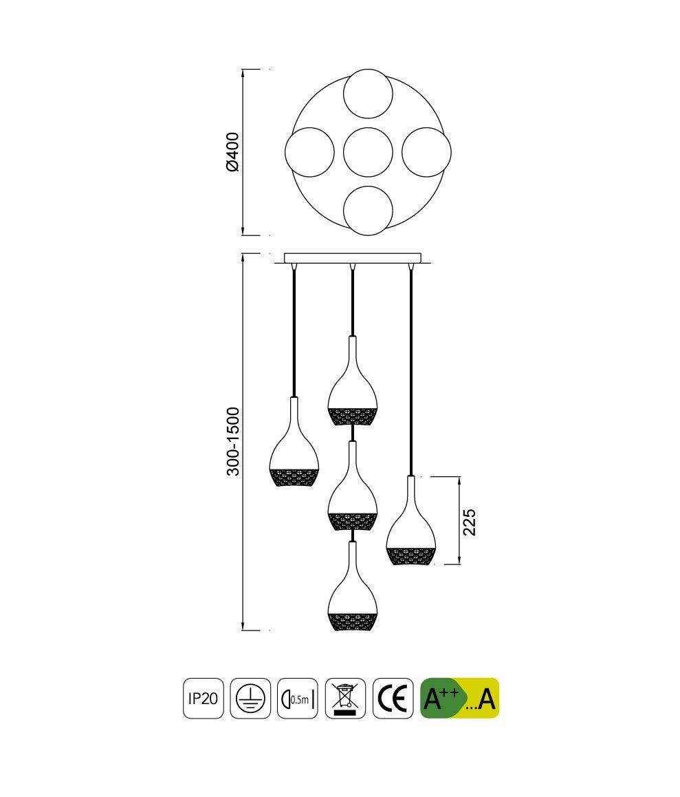 Medidas lámpara de techo círculo cromo KHALIFA 5 luces