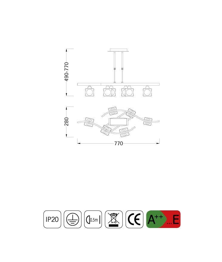 Medidas lámpara pequeña CUADRAX 6 luces