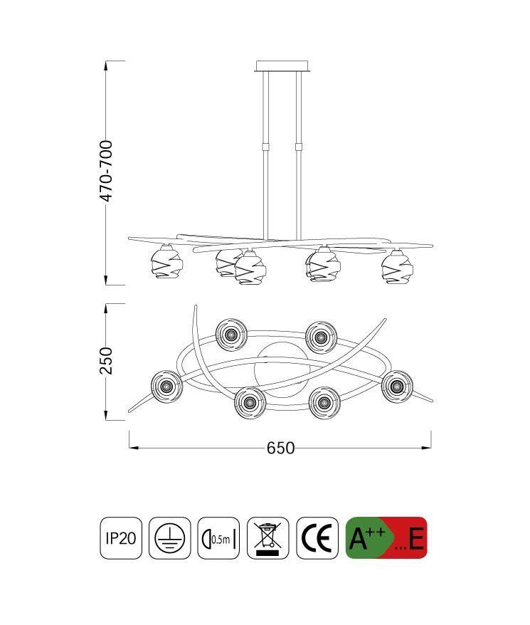 Medidas lámpara pequeño LOOP 6 luces