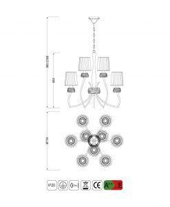 Medidas lámpara 9 luces LOEWE