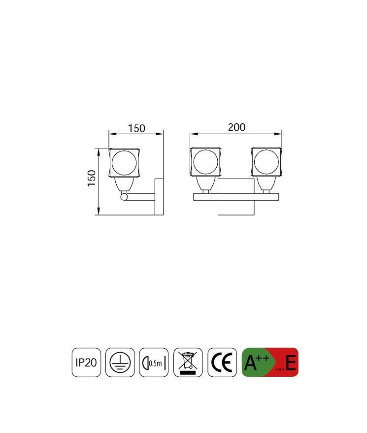 Medidas aplique grande CUADRAX 2 luces