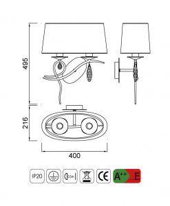 Medidas aplique diseño elegante con 2 luces LOUISE