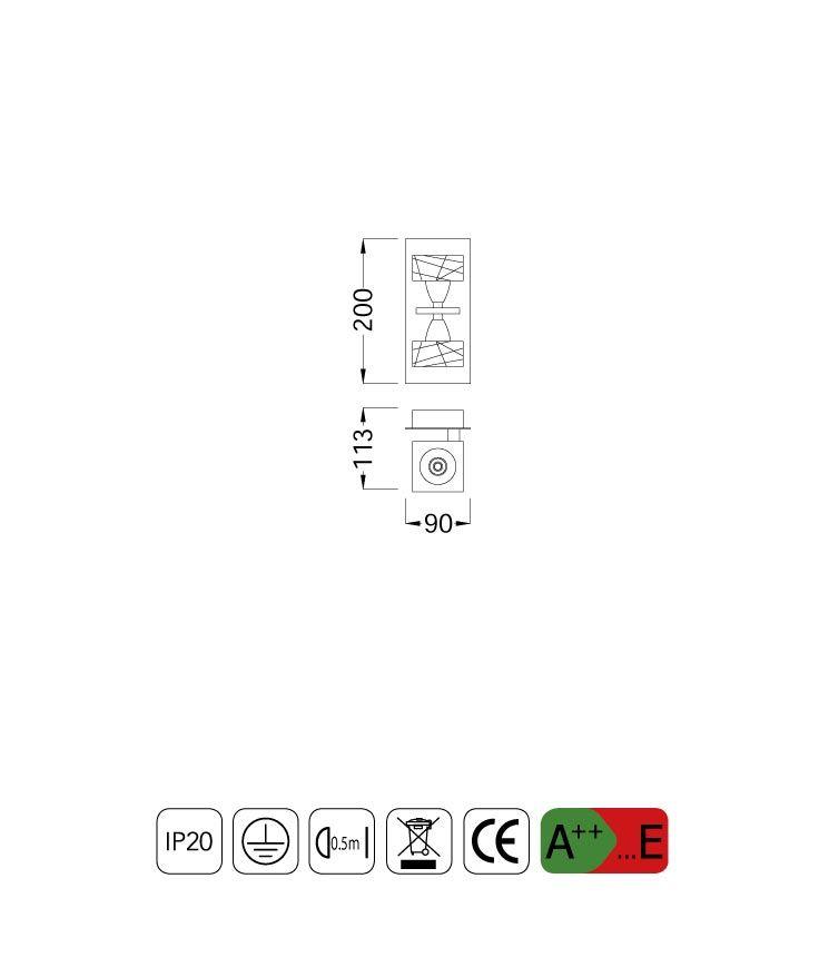 Medidas aplique grande ZEN 2 luces
