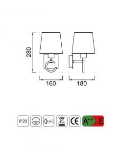 Medidas lámpara de pared 1 luz ARGI