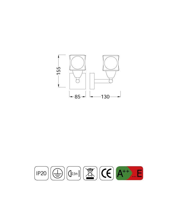Medidas aplique pequeño CUADRAX 1 luz