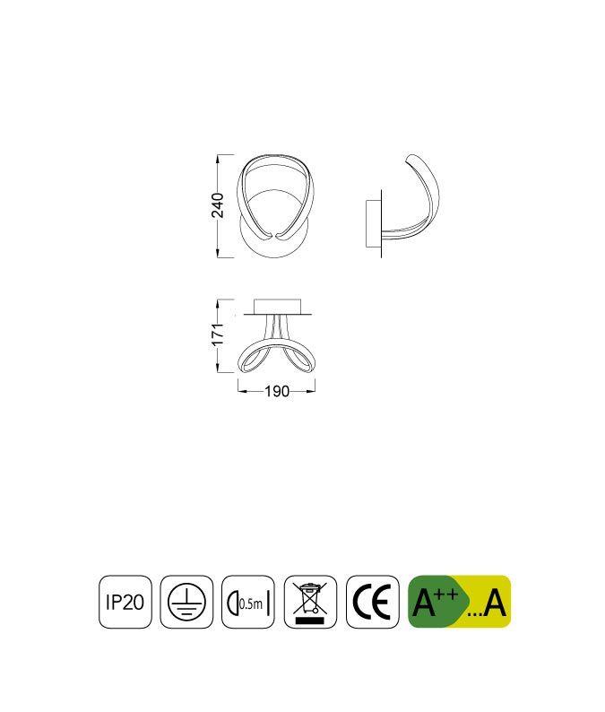 Medidas aplique de pared KNOT LED