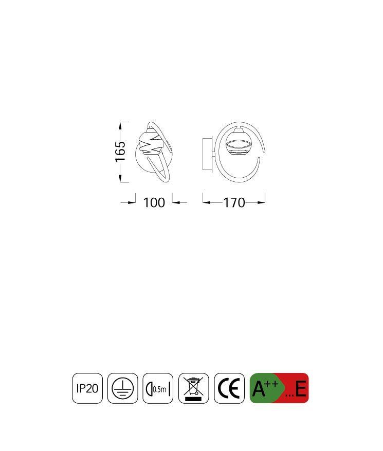 Medidas aplique pequeño LOOP 1 luz