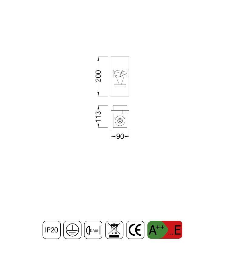 Medidas aplique pequeño ZEN 1 luz