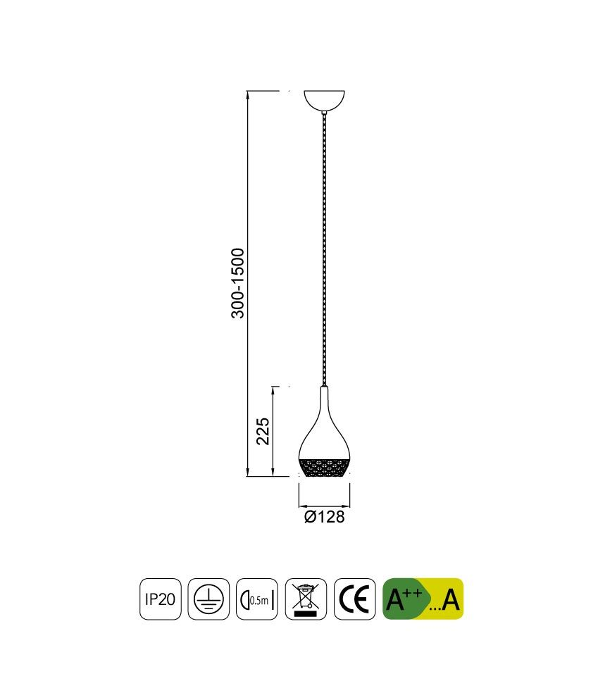 Medidas lámpara de techo KHALIFA 1 luz