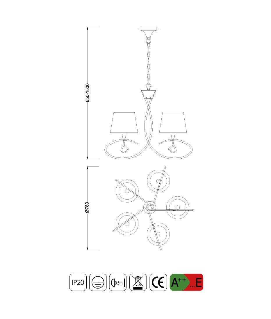 Medidas lámpara mediana MARA 5 luces