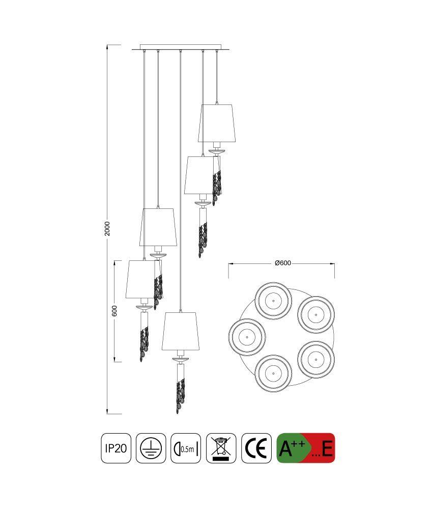 Medidas colgante circular TIFFANY 5+5 luces