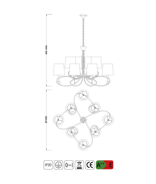 Medidas Lámpara grande MARA 8 luces