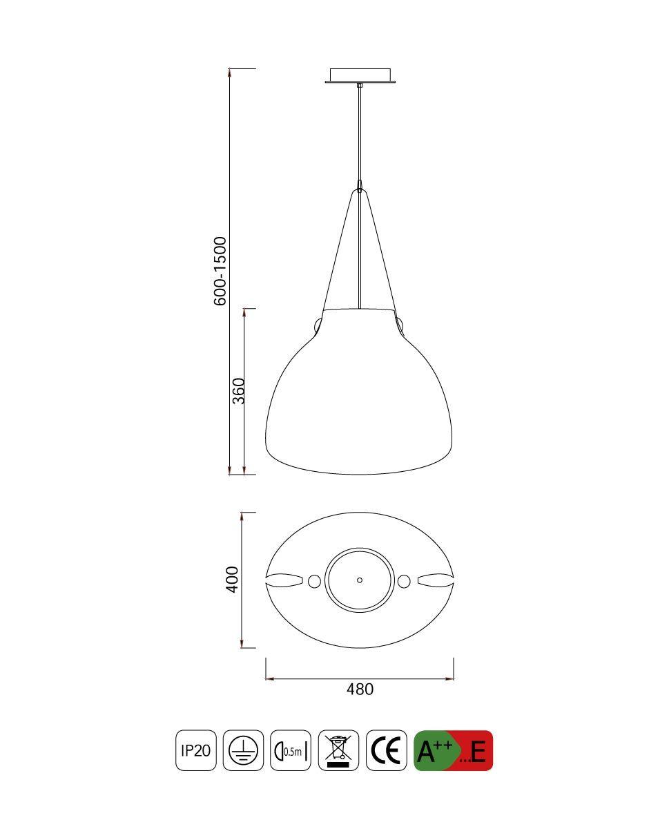 Medidas lámpara de techo grande SWISS