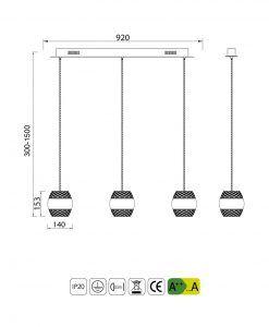 Medidas colgante línea cromo KHALIFA 3 luces