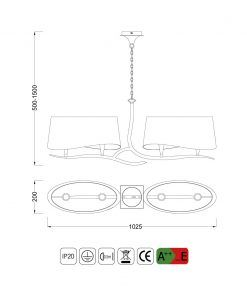Medidas lámpara lineal NINETTE 4 luces