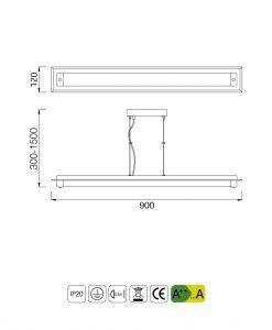Medidas lámpara colgante LED pequeña TUBE cromo cristal