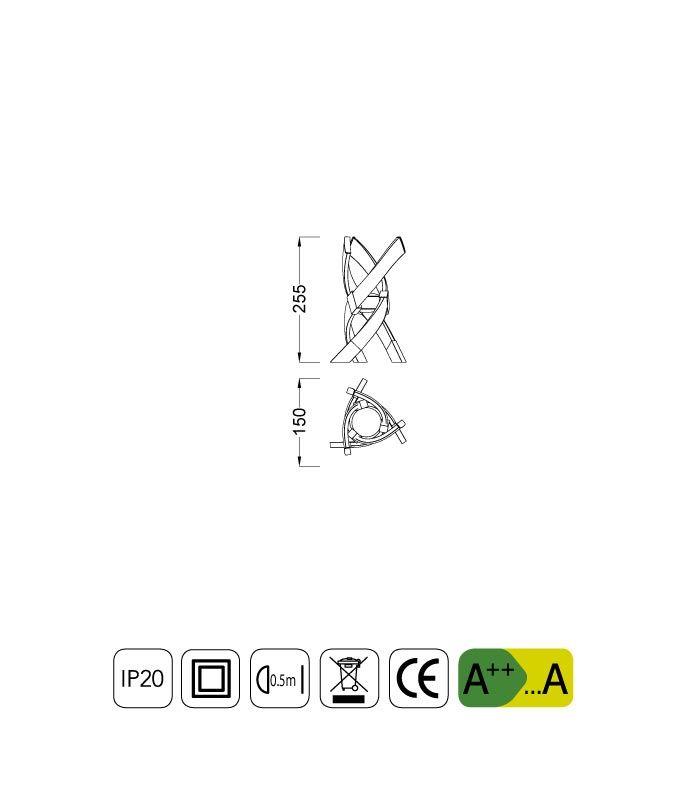 Medidas lámpara de mesa ESPIRALES plata cromo
