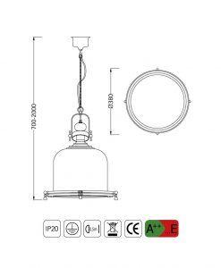 Medidas lámpara colgante grande VINTAGE cristal/cuero