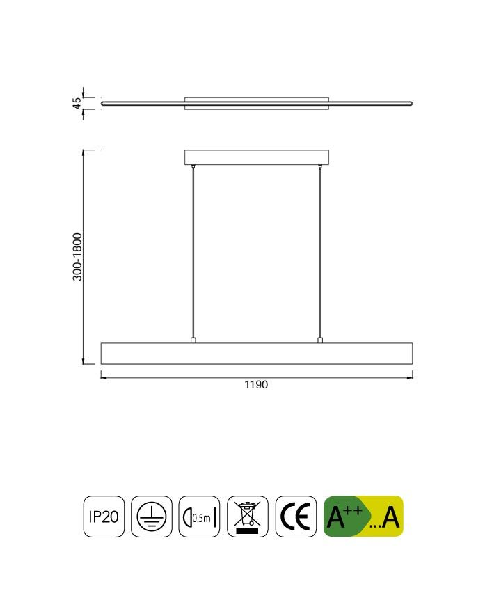 Medidas lámpara LED lineal PETACA blanco