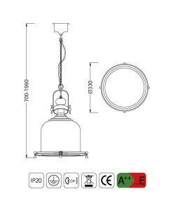 Medidas lámpara colgante mediana VINTAGE cristal/cuero