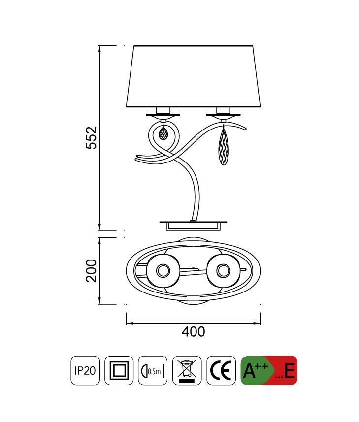 Medidas lámpara de mesa diseño elegante LOUISE