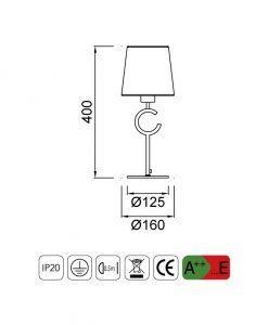 Medidas lámpara de mesa pequeña ARGI 1 luz