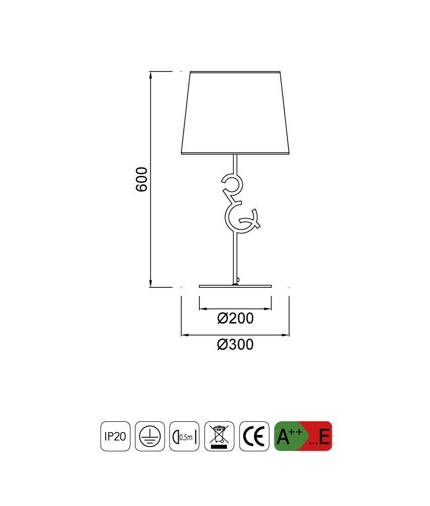 Medidas lámpara de mesa grande ARGI 1 luz