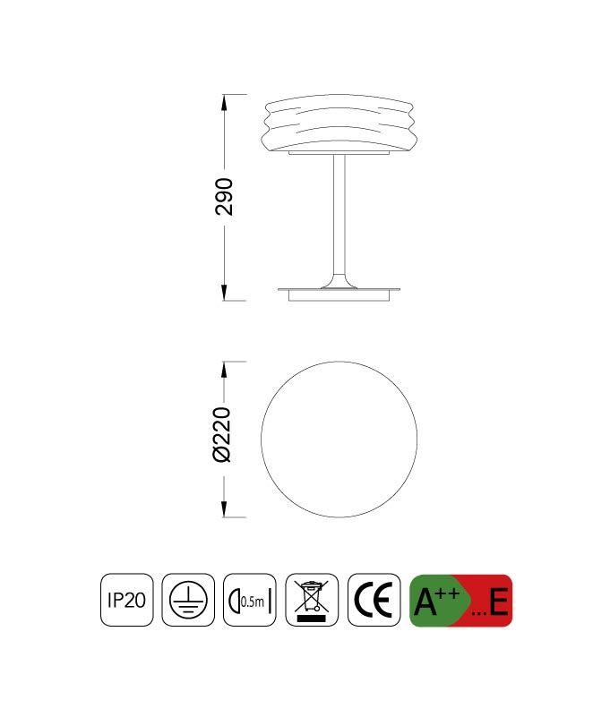 Medidas sobremesa pequeña MEDITERRANEO cromo/cristal opal