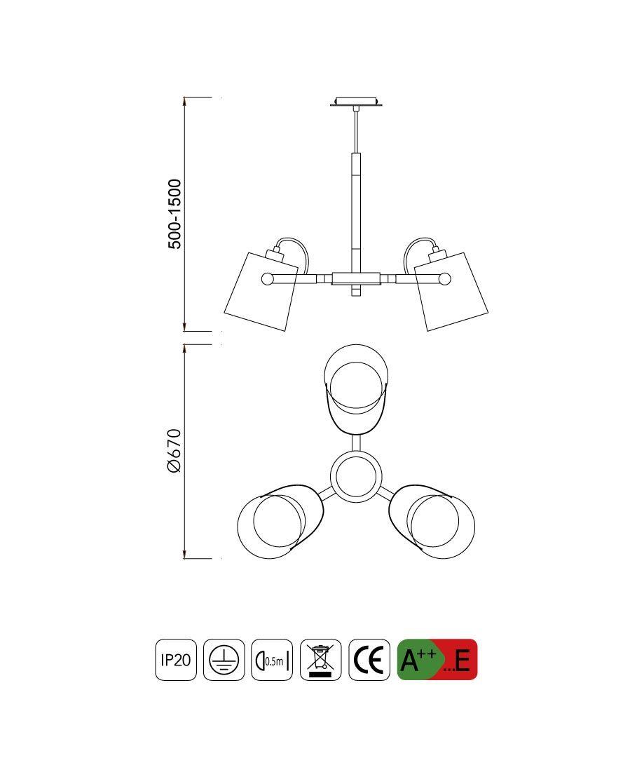 Medidas lámpara colgante 3 luces NORDICA II