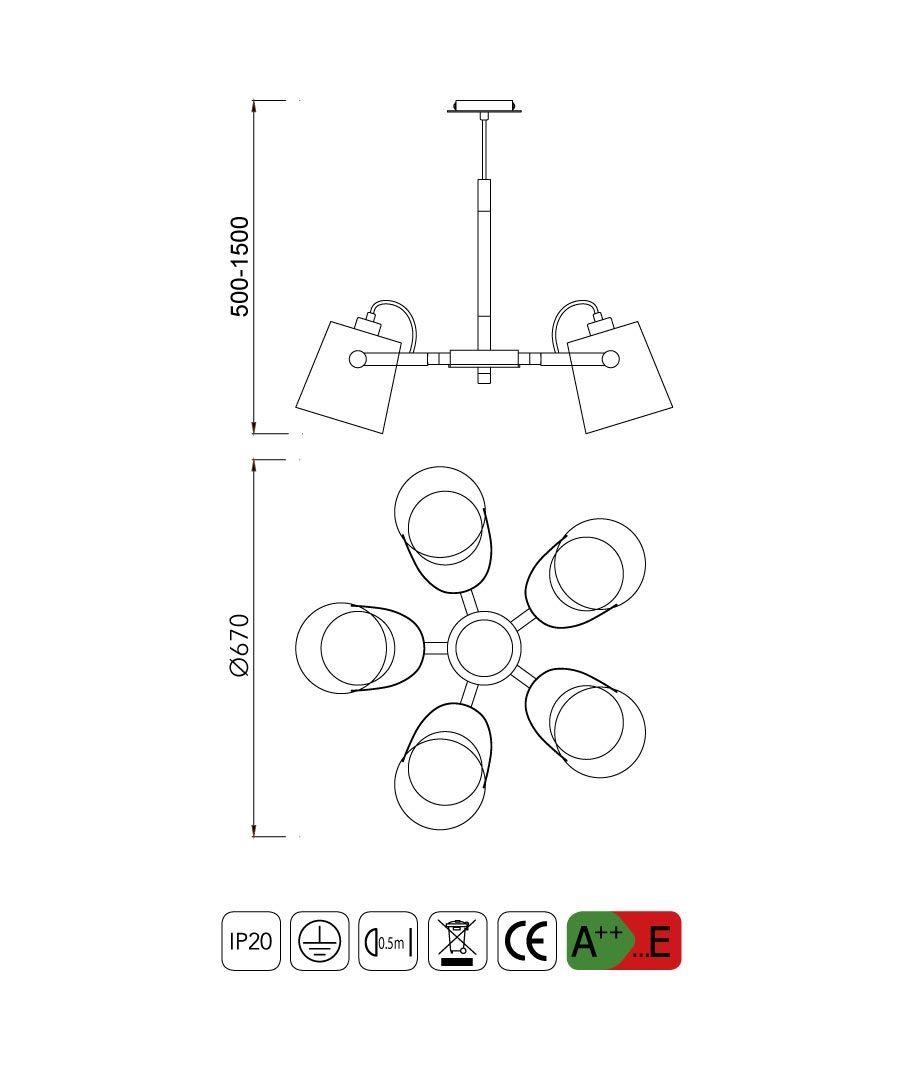Medidas lámpara colgante 5 luces NORDICA II