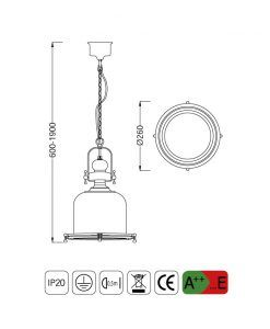 Medidas lámpara colgante pequeña VINTAGE cristal/cuero