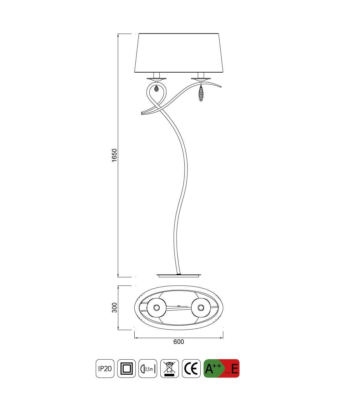 Medidas lámpara de pie elegante LOUISE