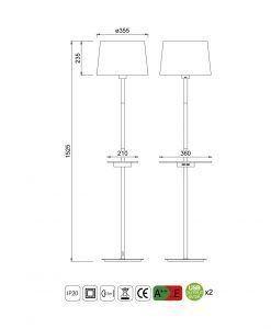 Medidas lámpara de pie con USB NORDICA II
