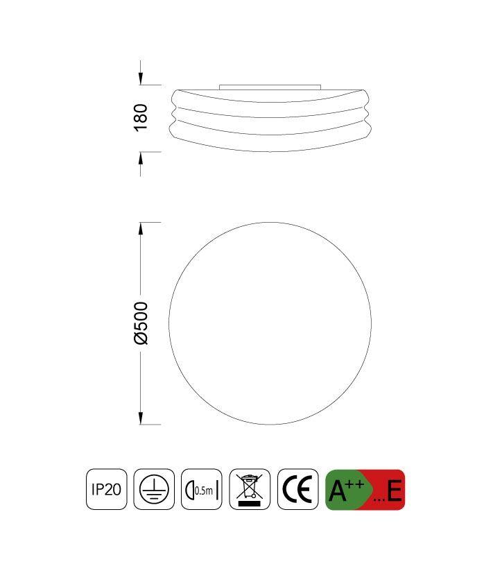 Medidas Plafón-Aplique grande MEDITERRANEO cromo/cristal opal 3 luces