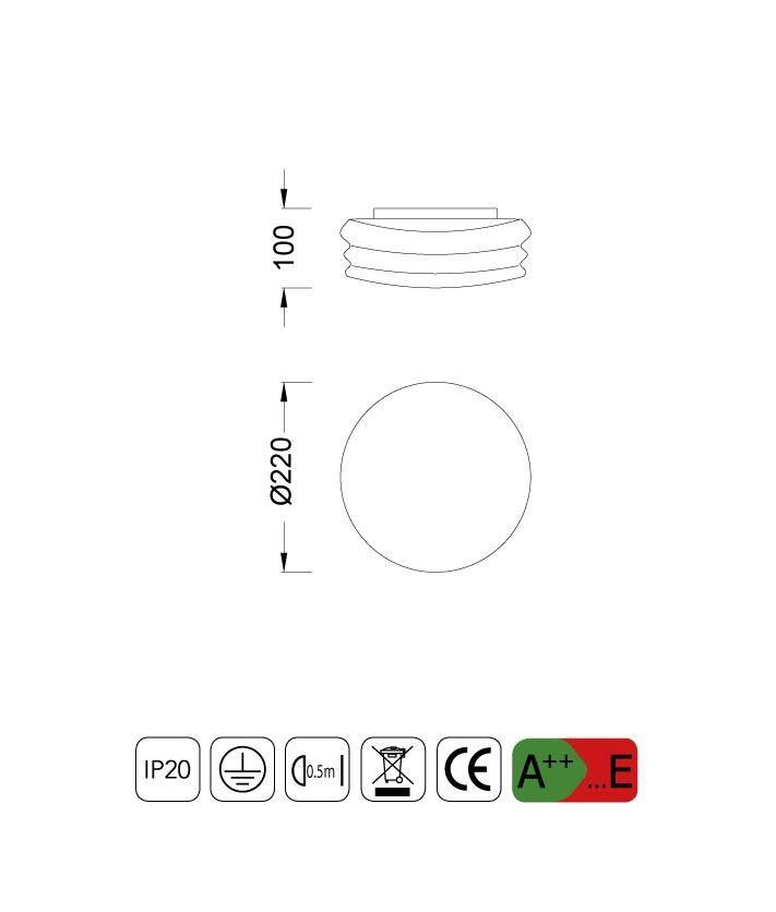 Medidas Plafón-Aplique pequeño MEDITERRANEO cromo/cristal opal 2 luces